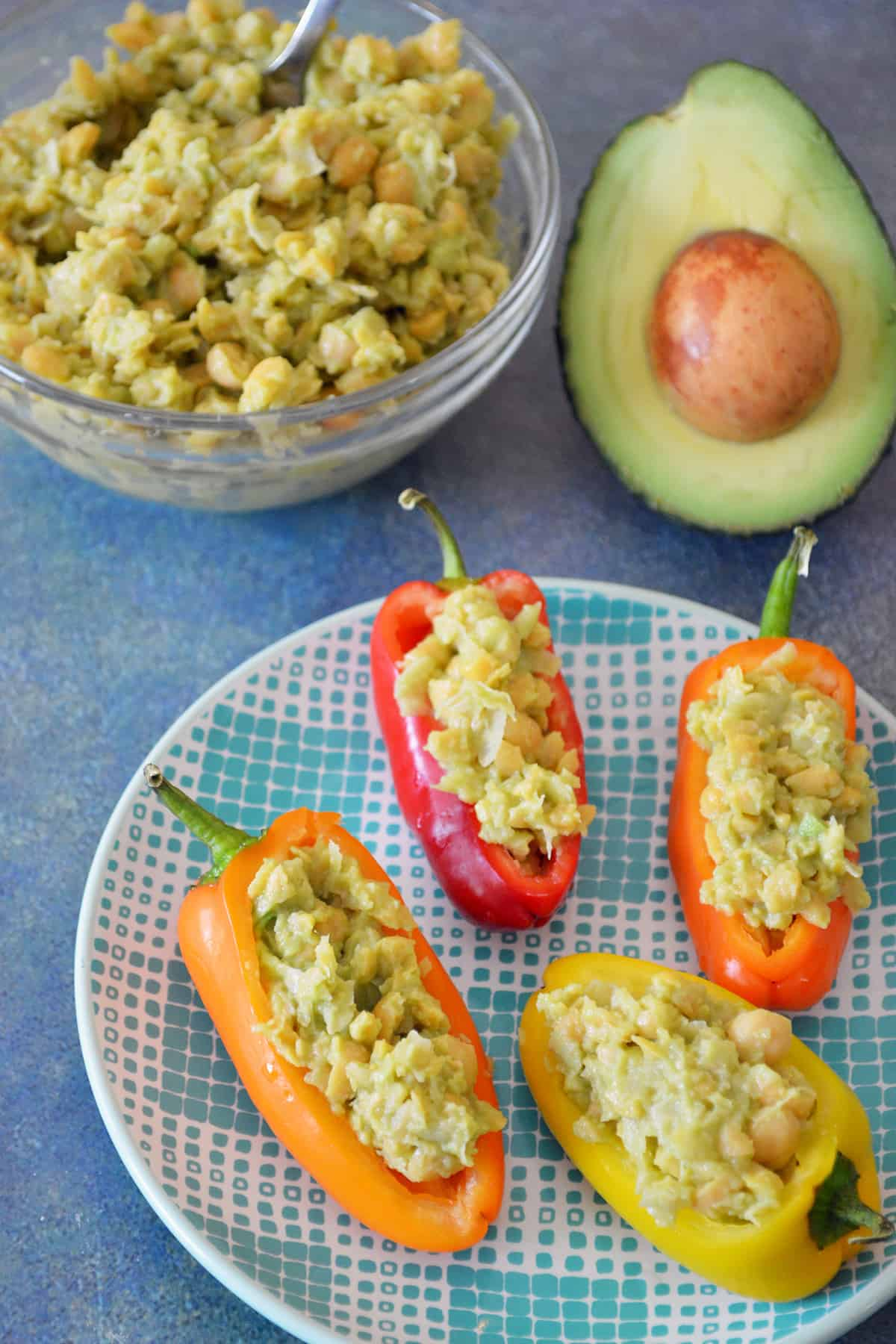 Smashed Chickpea Salad Stuffed Mini Sweet Peppers on plate