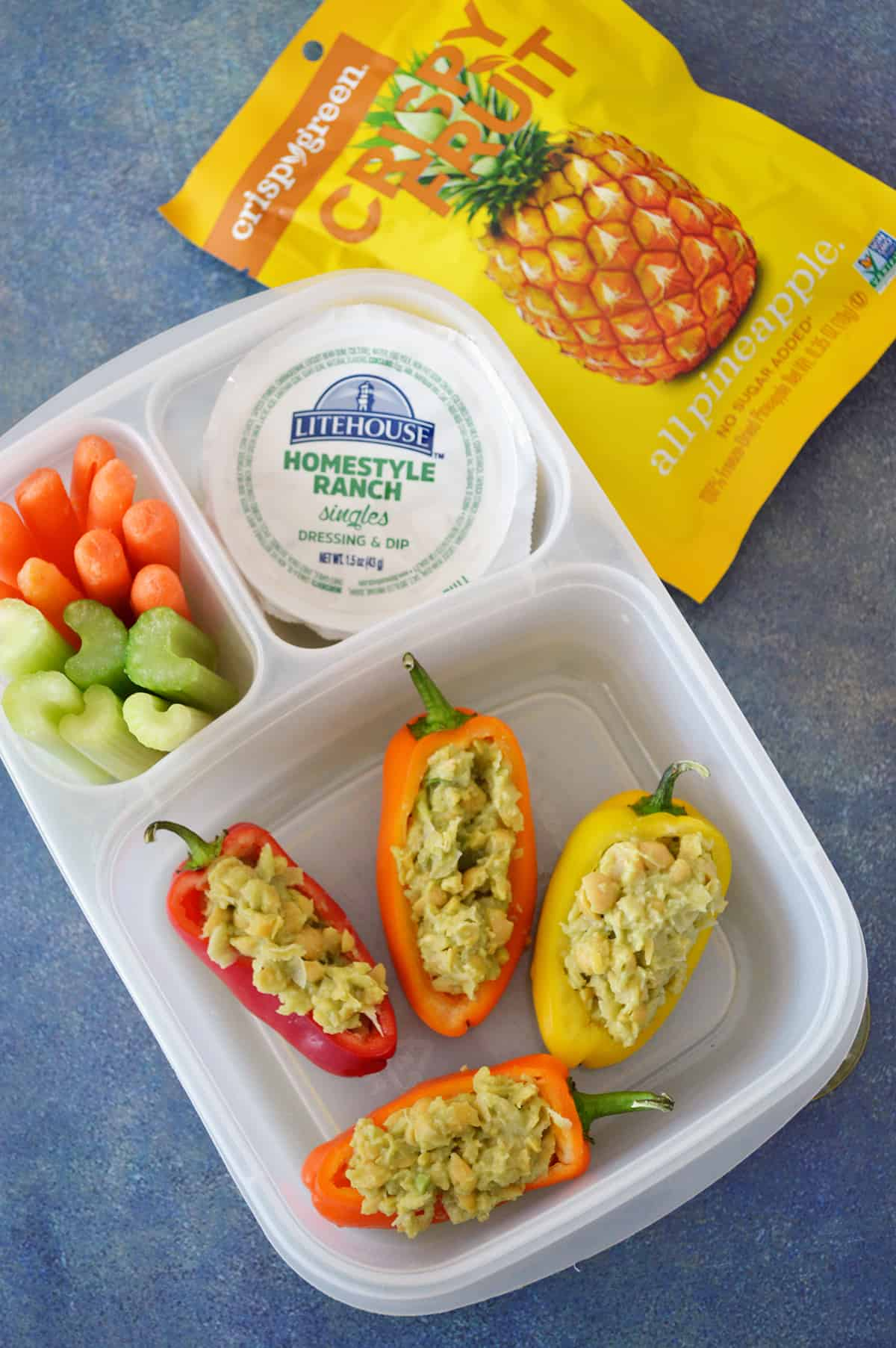 Smashed Chickpea Salad Stuffed Mini Sweet Peppers in bento box