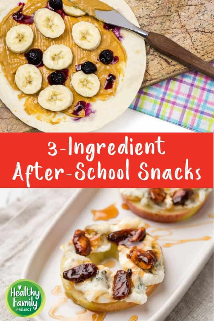 Collage of easy snack ideas with text overlay