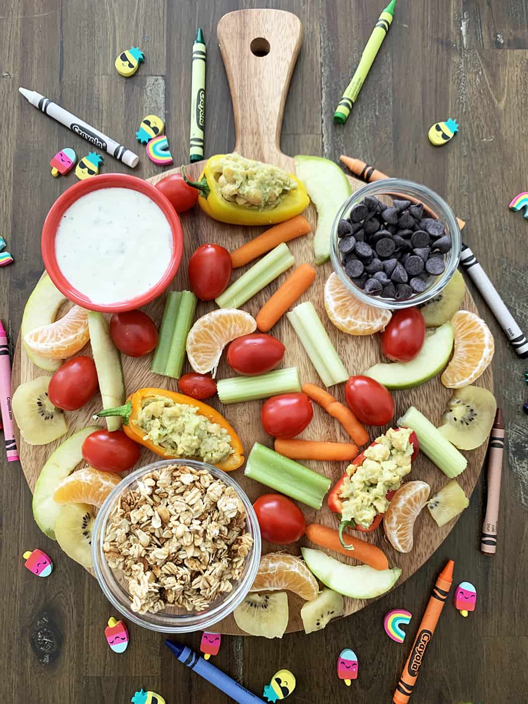 Snack board filled with healthy items