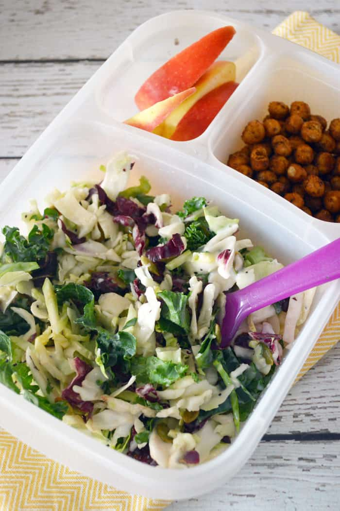 Bento box with salad, apples and roasted chickpeas