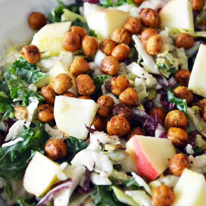 Sweet Kale Salad with Roasted Chickpeas & Apples