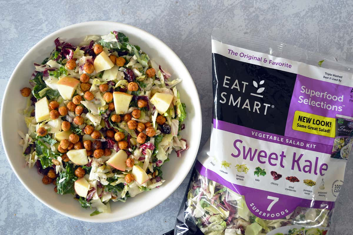 Sweet Kale Salad with Roasted Chickpeas and Apples