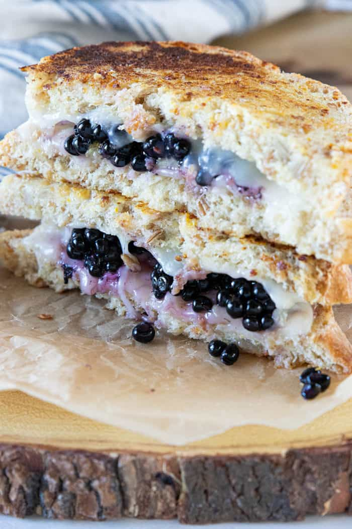 Close up of stacked blackberry grilled cheese sandwich
