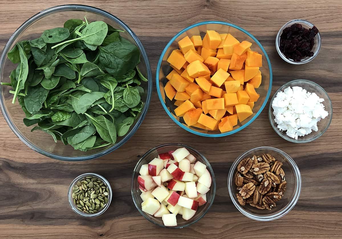 Fall Harvest Salad ingredients
