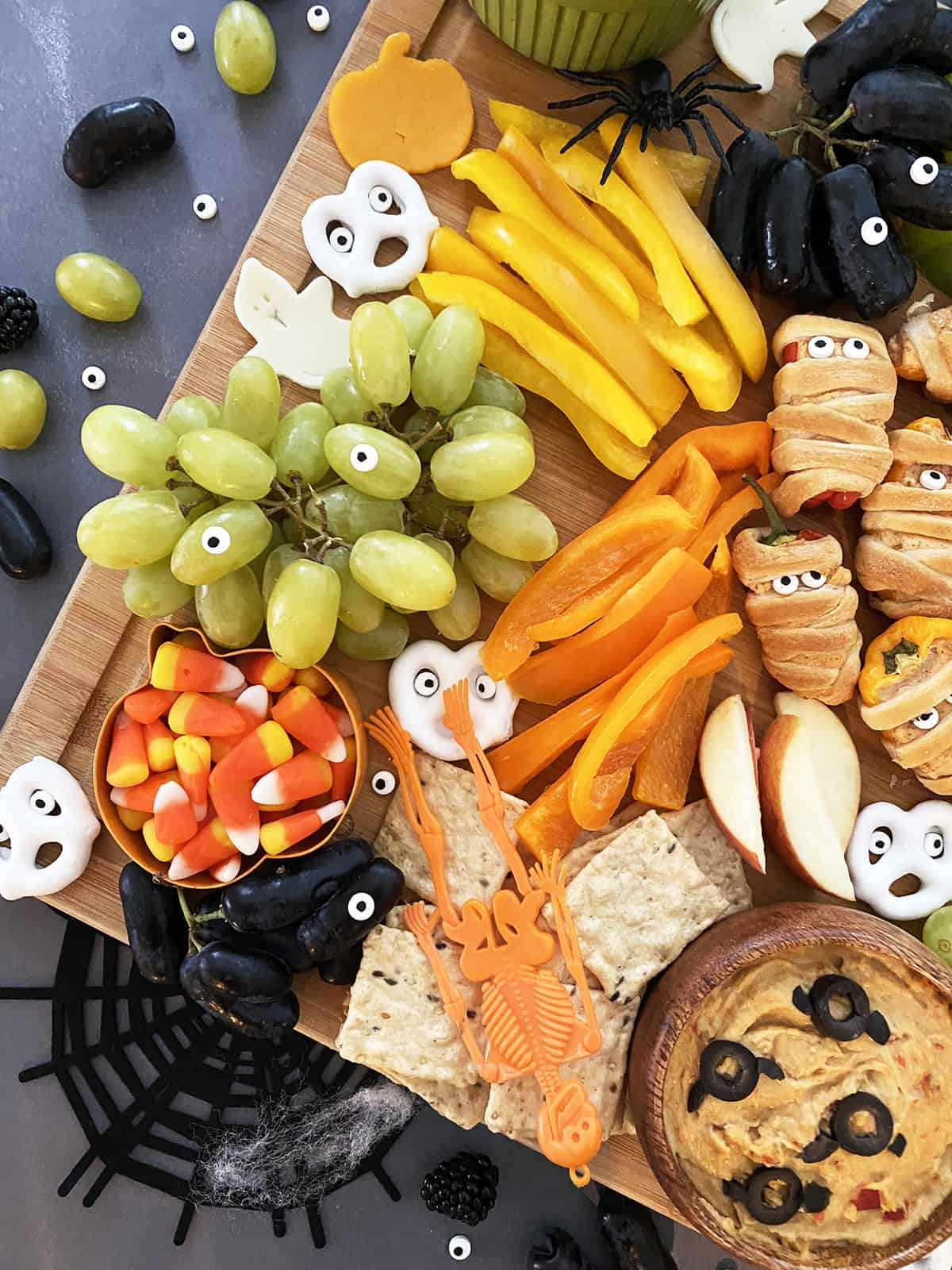 Close up of Halloween snack board