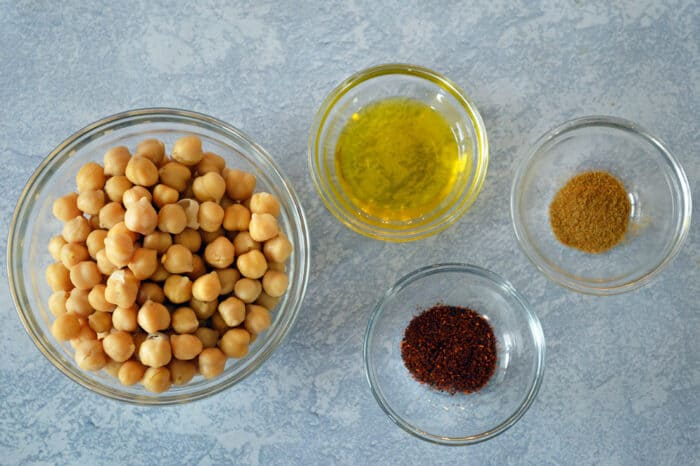Roasted chickpea ingredients in glass bowls