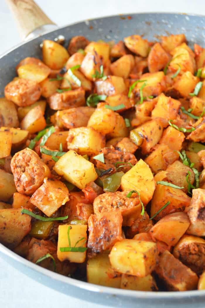 plant based sausage & Potato Skillet in skillet