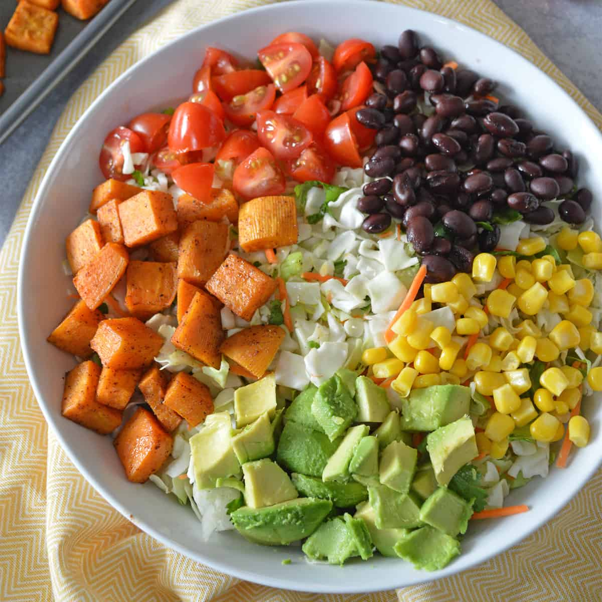 White bowl with black beans, corn, avocado, roasted sweet potatoes and tomatoes sectioned out.
