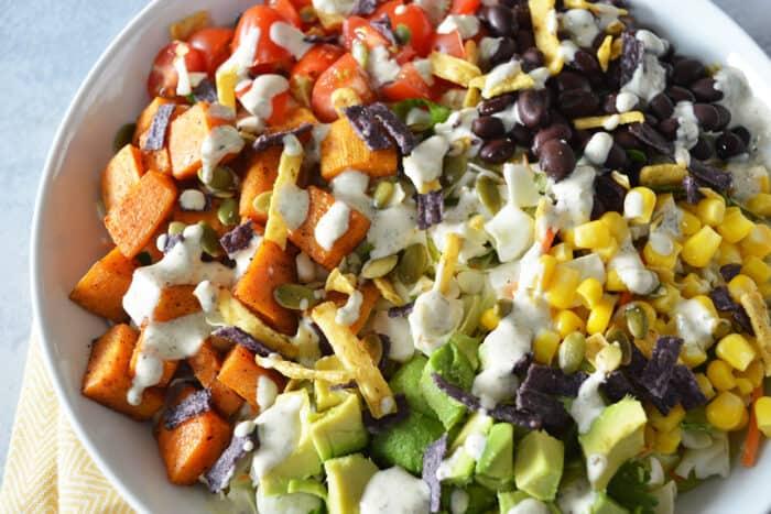 Close up of sweet potato taco bowls.