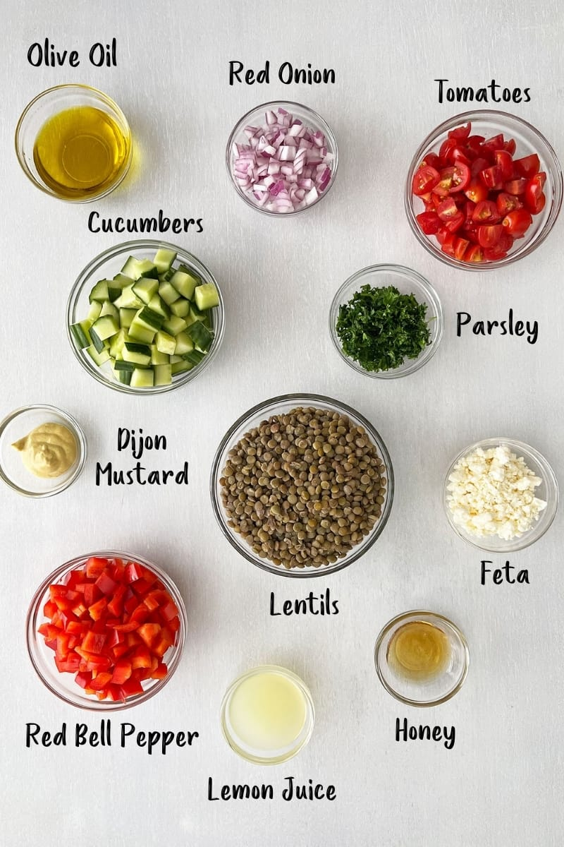 Individual bowls of ingredients for lentil salad with text overlays.