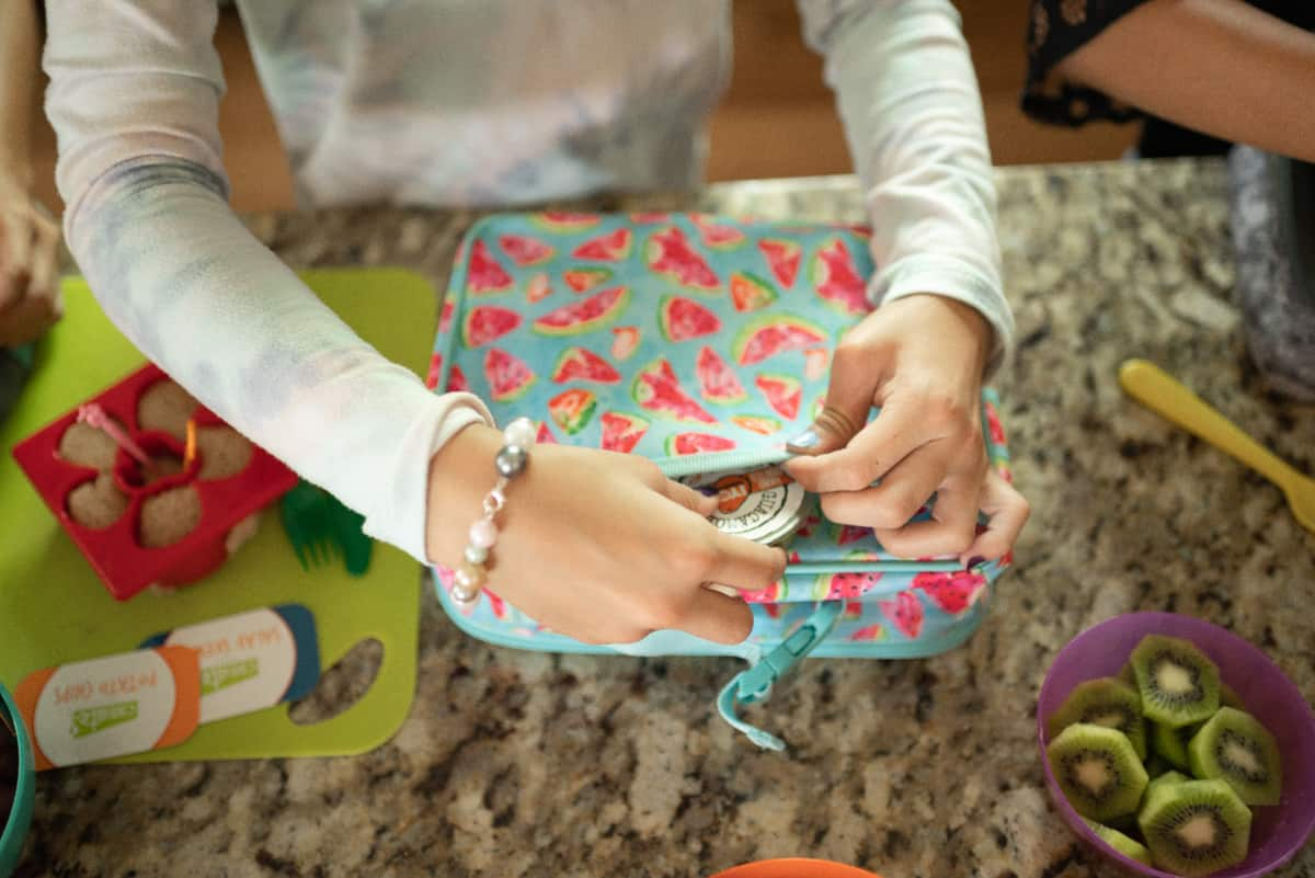Kids making homemade lunchables
