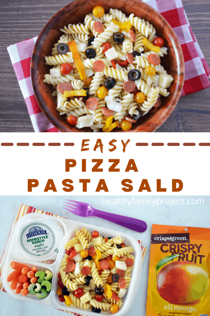 Easy Pizza Pasta Salad Pinterest Collage