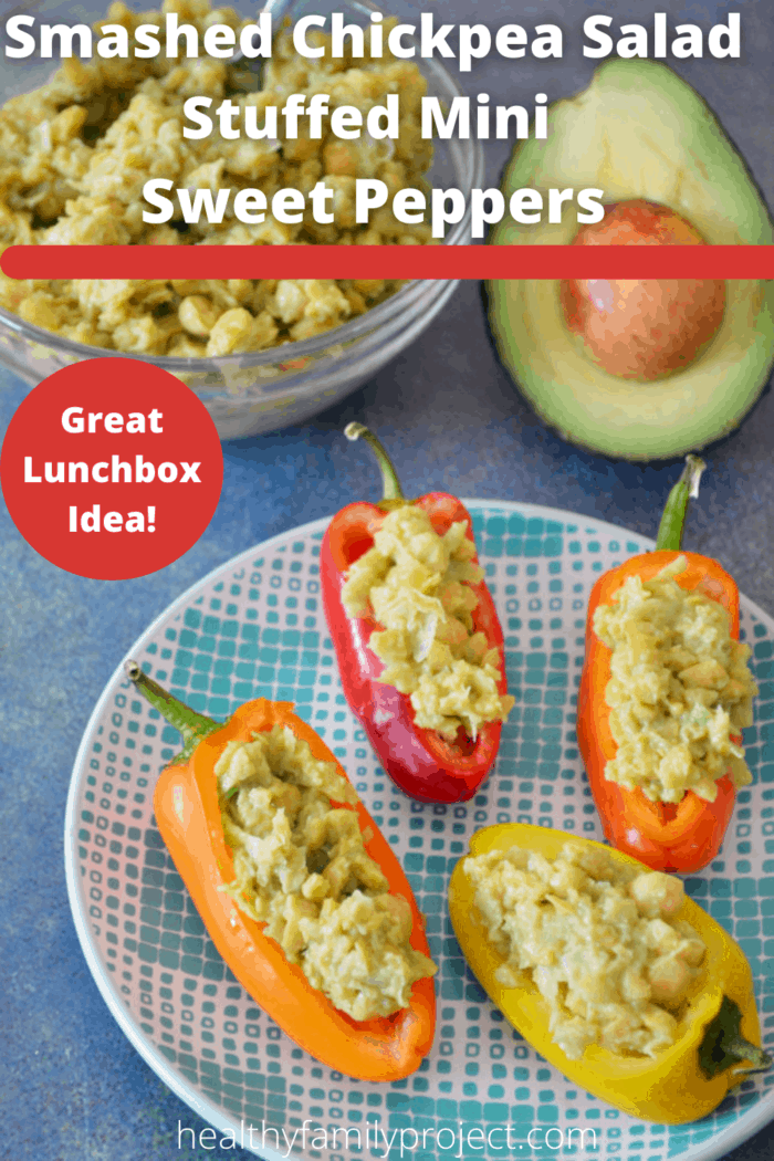 Smashed Chickpea Salad Stuffed Mini Sweet Peppers Pinterest Image