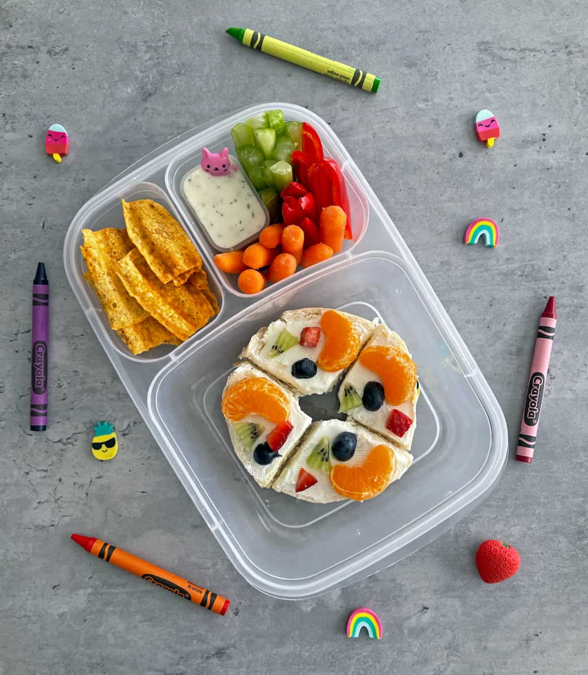 Fruit bagels with cream cheese lunchbox