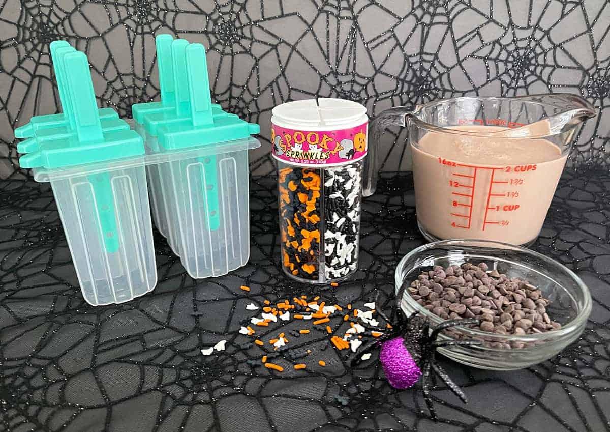 Ingredients for Chocolate Milk Halloween Popsicles
