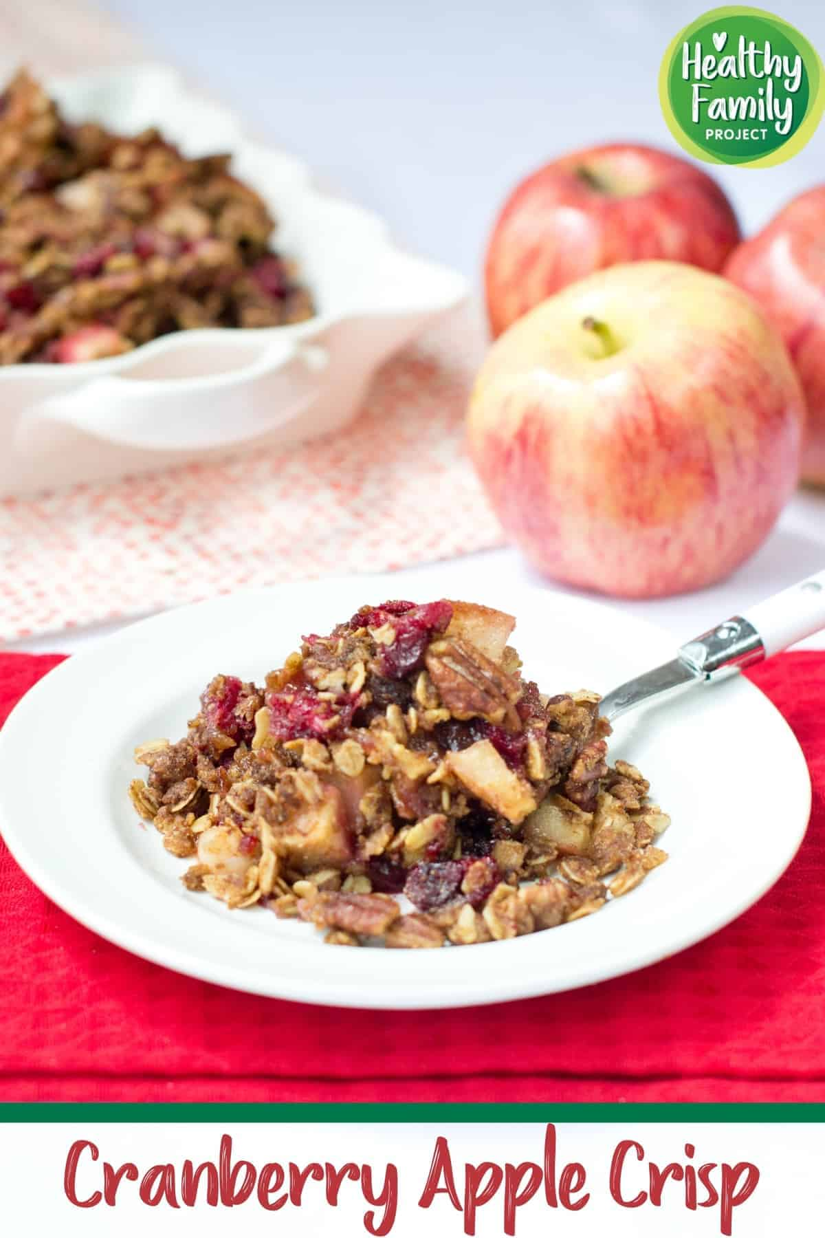 Healthy Cranberry Apple Crisp | This lightened up spin on classic fruit crisp is sure to be a new family favorite for the holidays. Fresh cranberries and apples combine perfectly for a sweet breakfast or dessert. | Healthy Family Project #applecrisp #holidaydessert #FestiveFlavors #cranberries #crisp #apples